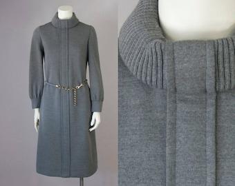 60s Vintage BERGDORF Goodman Grey Wool Knitted Turtleneck Belted Midi Dress (S, M)