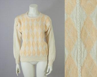 70s Vintage PRINGLE Of Scotland Argyle Wool Braided Sweater (XS, S)