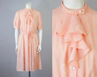 70s Vintage Peach Ruffle Neck Midi Dress (M)