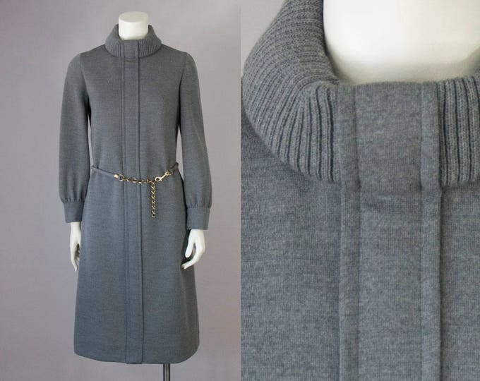 Featured listing image: 60s Vintage BERGDORF Goodman Grey Wool Knitted Turtleneck Belted Midi Dress (S, M)
