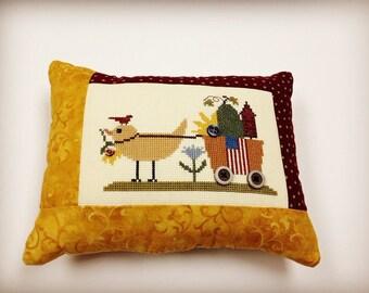 Cross Stitch Summer Wagon Pillow, Finished Cross Stitch
