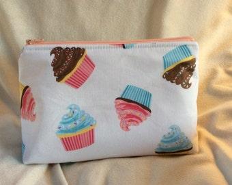 Cupcake Print Makeup Bag
