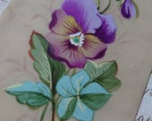Beautiful antique French handpainted love token greetings card violet violette with inscription  dated 1889