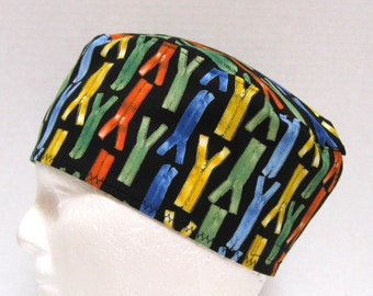 Scrub Hat or Orthopedic Surgeon Surgical Cap with Colorful Zippers on Black