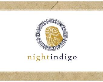 Custom Logo Design - PreDesigned Logo PreMade Logo Vector Logo - OOAK Logo - NIGHT INDIGO Logo Branding - Owl Logo - Bird Logo - Boho Logo