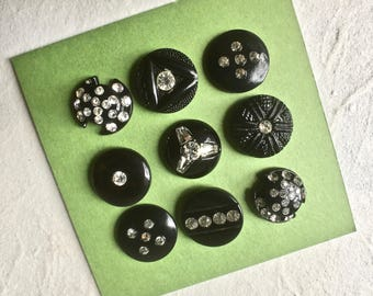 Early Plastic Black Butons with Rhinestones for Sewing and Crafts