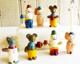 Vintage Circus Birthday Candle Holder Picks - Cake, Cupcake or Craft Picks - Lot of 7 - Bears, Elephants, Clowns and Mouse - Mid-century
