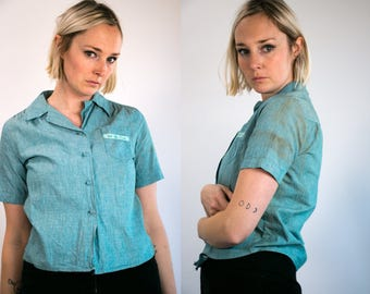Vintage 60's Girl Scouts of America Distressed Button Up Short Sleeve Shirt Women's Medium