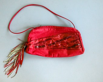 Vintage 80's Women's Red Leather Bag with Fringe and Snakeskin / Retro / Hipster / Purse