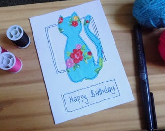 Cat Greetings Card, Stitched Collage  Card, Greetings card Blank Card, Note Card