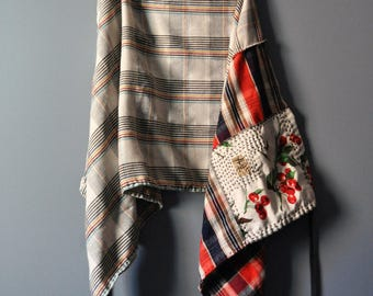 Upcycled Vintage Wool and Flannel Wrap Skirt with Japanese Boro Style Patchwork/Plaid Skirt