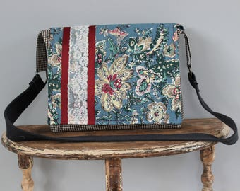 Upcycled Floral and Lace Messenger Bag