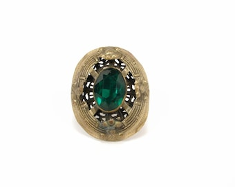 Vintage Brass and  Green Glass Brooch