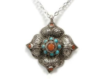 Vintage Silver Filigree Turquoise Pendant, Red Coral, Cross Pendant, Tribal Style, Vintage Jewelry, Asian Jewelry