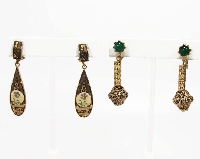Vintage Damascene Filigree Dangle Earrings