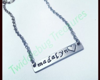 Bar Necklace - Hand Stamped - Name Necklace