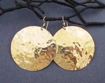 Large Gold Disc Earrings in Hammered Brass Dangles and 14k Gold Filled Ear Wires Round Earrings Tribal Jewelry Modern Textured Metal Jewelry