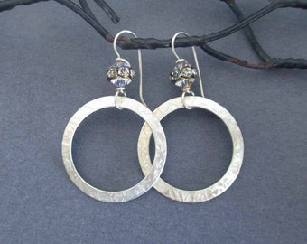 Hammered Sterling Silver Hoop Earrings with Swarovski Crystals Modern Jewelry Everyday Jewelry Dangle Earrings