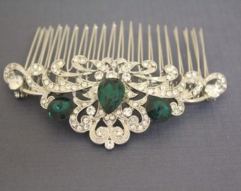 Emerald crystal Wedding hair accessories,Bridal hair comb,Wedding decorative combs,Wedding hair clip,Bridal comb,Wedding hair comb,Bridal