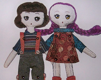 INSTANT DOWNLOAD DIGITAL - Two Jointed Paper Doll Friends Daphne and Catherine!