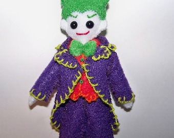 "Mini FabsTM 5"" tall Joker felt doll with removable outfit and shoes, all completely hand-sewn, comes in a hand-made gift bag"