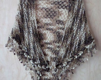 Crochet Shawl, Solomon's knot, Multicolor Cape, Lace Shawl, Womens Gift, Fringed shawl, White, Beige and Gray colors with lurex
