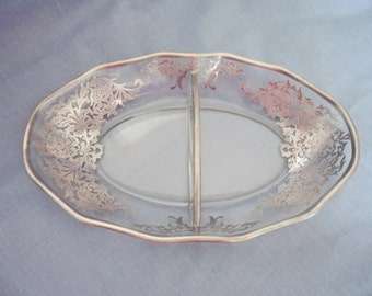 Vintage Fostoria Elegant Silver Overlay divided Relish GLASS Dish