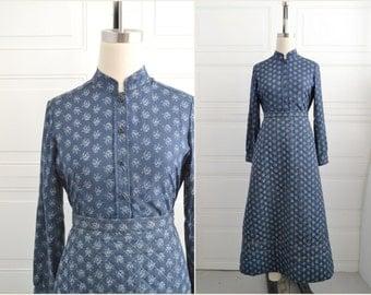 1970s Angus Bailey Navy Shirt and Skirt Set
