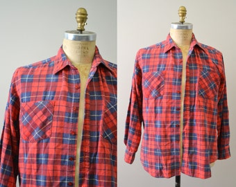 1980s Red Plaid Flannel Shirt