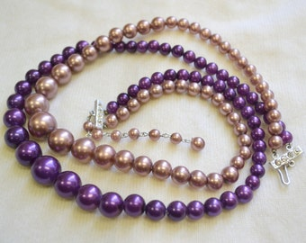 1950s Purple Pearl Multi-Strand Necklace