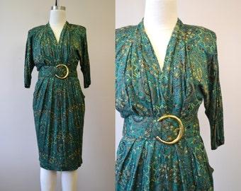 1980s Green Paisley Knit Dress