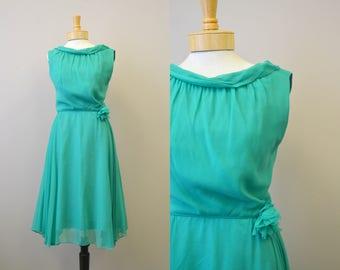 1960s R&K Green Chiffon Dress