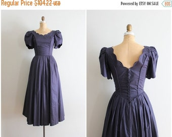 24 HOUR SALE vintage early 90s Laura Ashley cotton lawn dress - navy blue dress / tea length & puff sleeves - bridesmaid dress / ladies xs