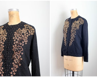 vintage 1950s beaded cardigan sweater - beaded sweater / bronze beaded cardigan - leaves & berries sweater / 50s beaded sweater