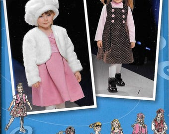 Simplicity 2828 Pattern Project Runway Girls Dress Jumper Vest Jacket Hat Size 3,4,5,6,7,8