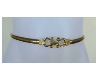 Vintage 70s Belt / Vintage Belt / Horsebit / Coil Belt / Minimalist Belt / Gold Belt / Boho Belt