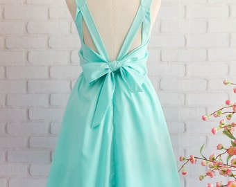 Blue dress blue party dress blue prom dress blue bridesmaid dress backless cocktail dress mint blue dress