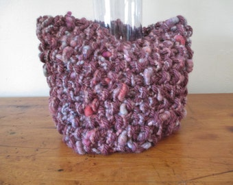 Hand knit cowl super chunky in rose, mauve, grey, gray, red, lavender, purple, green, perwinkle and FREE SHIPPING to the 50 United States