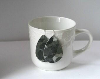 Grey Green Camo Camouflage Suede Leather Teardrop Drop Earrings