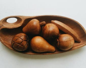 Mid Century Carved Wood Bowl with Wooden Fruit - Decorative Wooden Bowl - Modern Decor