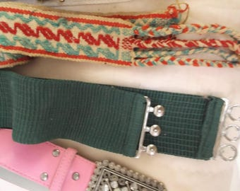Lot of 5 Vintage Belts, Green Stretch, Pink With Clear Beads