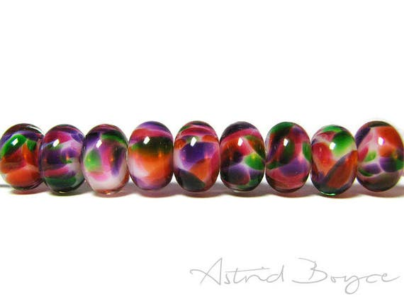 Mardi Gras Artisan Glass Lampwork Bead Set - Bright Happy Colors Bursts - Celebration - Includes Greenery Pantone Color of the Year for 2017