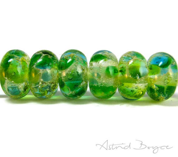 Greenery Sparkle Spacer Beads Artisan Lampwork Beads Set of Six -Free USA Shipping-Pantone Greenery-Pantone 2017 Color of the Year