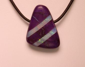 Sugelite & Lightning Ridge Opal Pendant