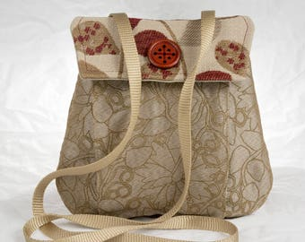 My Perfect Little Purse small purse cross body beige tan burgundy bag