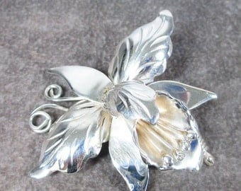 Sale Pre Holliday Vintage Taxco Mexico Sterling Silver Orchid Brooch Signed D.S /Old Eagle 3 Mark, Collector Piece