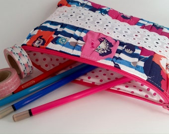 Pleated Clutch | Cosmetic Case | Makeup Case | Pencil Case | Small Pouch | Zippered Bag | Bridal Clutch | Wedding Clutch