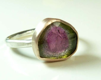 Watermelon Tourmaline slice set in 14K Rose Gold, water tourmaline ring, size 8.5, watermelon tourmaline stacking ring
