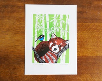 Red Panda and Bird, by Kat Lendacka, Original Linocut Print, Signed Open Edition, Free Postage in UK, Hand Pulled, Printmaking,
