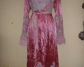 "20%OFF wedding bohemian boho gypsy lagenlook OAK satin dress....petite to 34"" bust..."